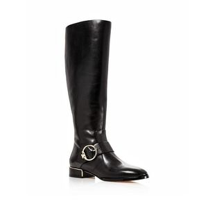 Tory Burch Sofia Buckled Leather Black & Gold Tall Riding Boot Size 6